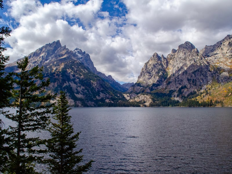 view of the canyon across jenny lake