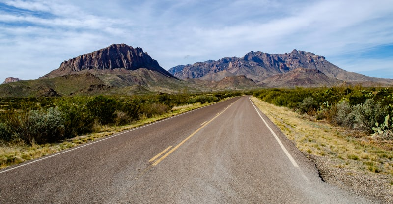 view of the chisos mountains from the eastern side