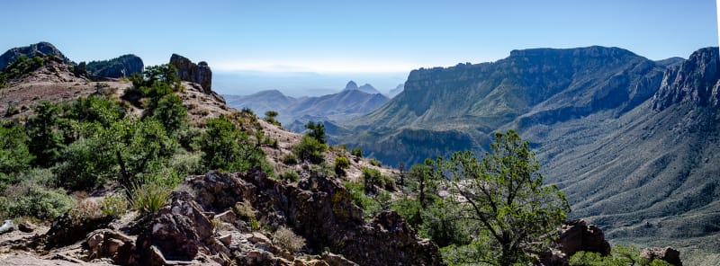 panoramic view looking east from the chisos mountains