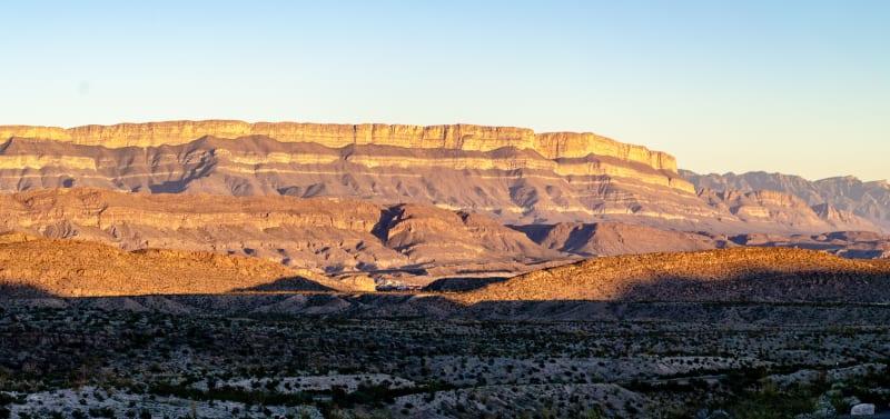 sunset light on the sierra del carmen mountains