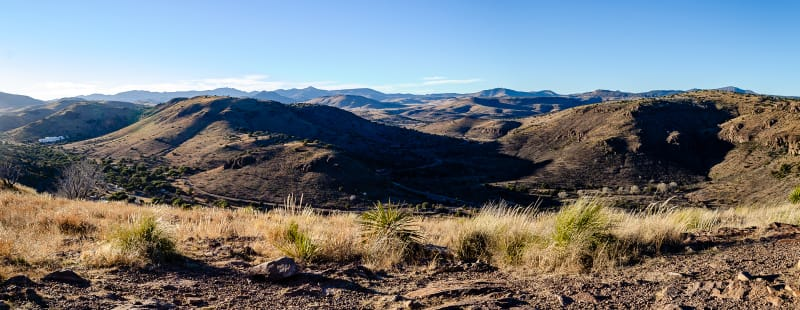 a panoramic view of the davis mountains
