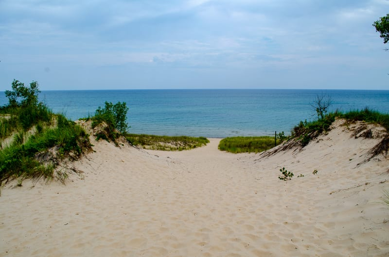looking back at the lake from the trail up the dunes