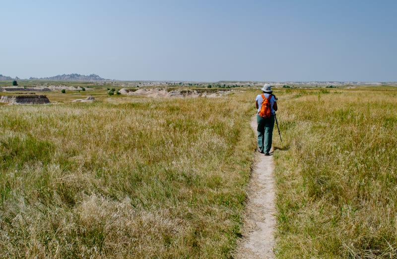 hiking the medicine root trail through the prairie