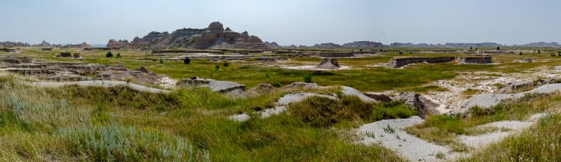 panorama of prairie and badlands