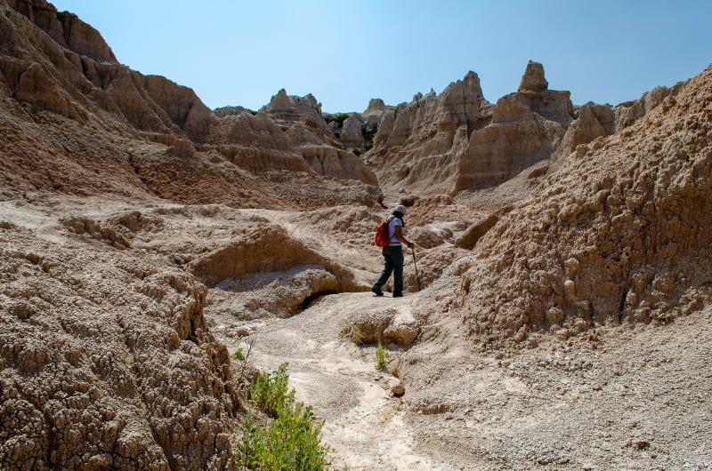 hiking through the badlands