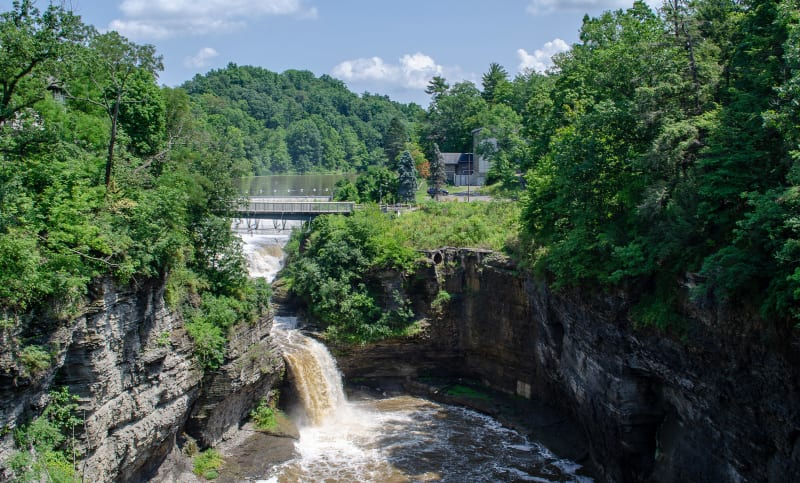 waterfalls along the cornell campus