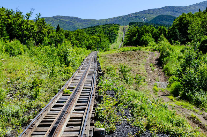 cog railway tracks up the mountain