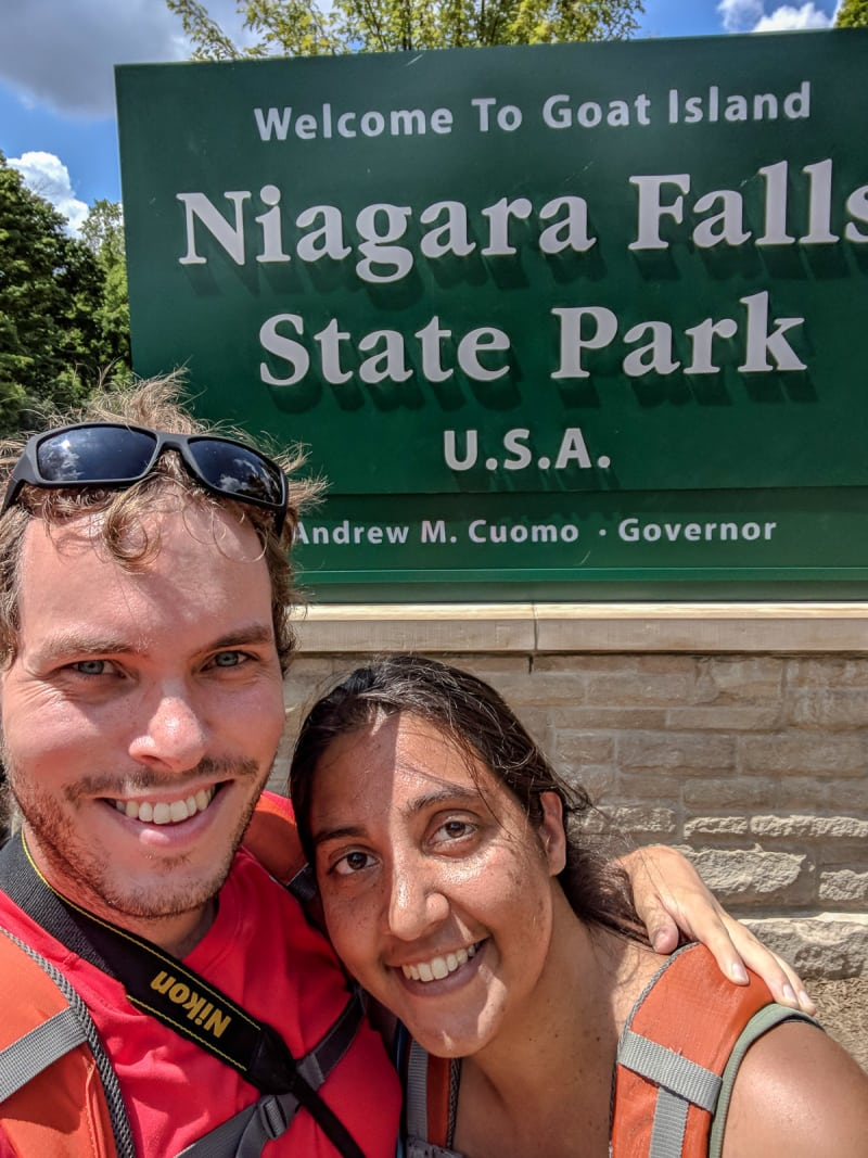 us with the niagara falls state park sign