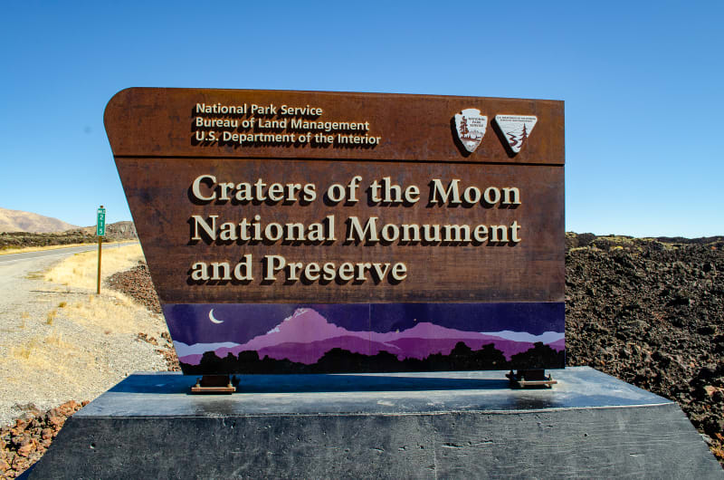 entrance sign for craters of the moon national monument