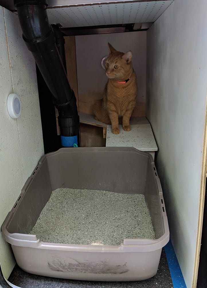Inside of the finished litter box room.