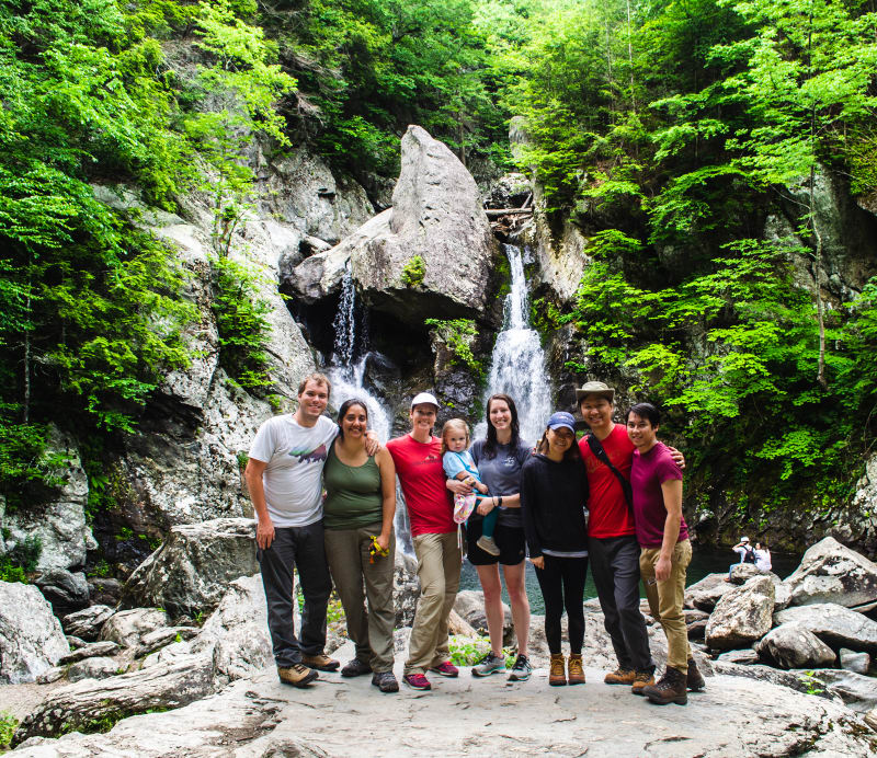 group of friends at Bash Bish waterfall