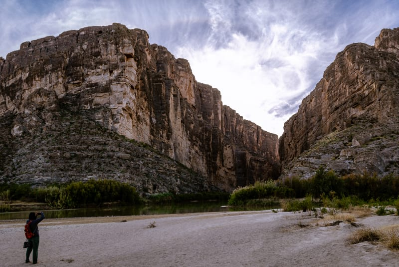 sushila in front of the entrance to santa elena canyon
