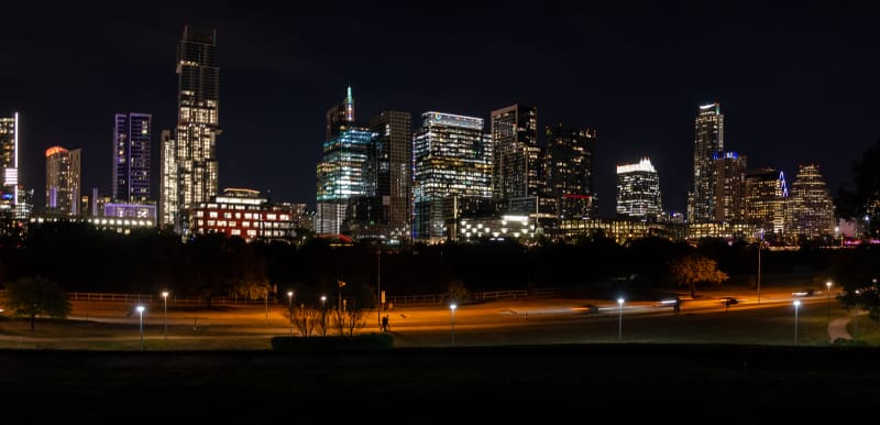 night view of the austin skyline