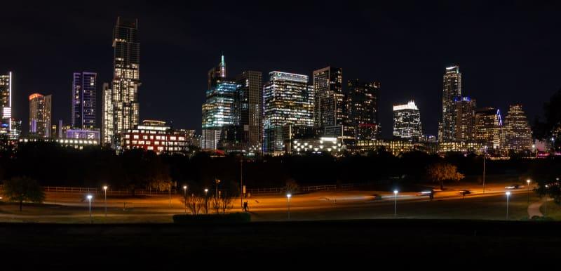 night view of the austin skyline