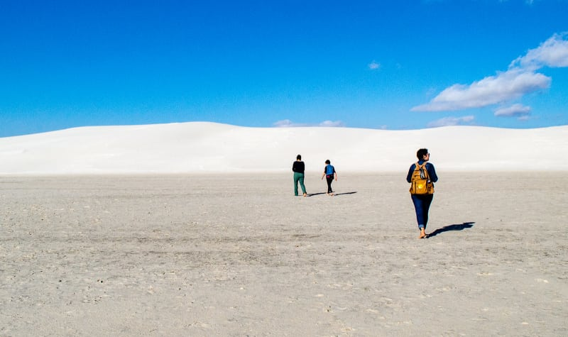 walking toward the white sand dunes with meagan and mollie
