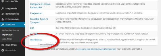 WordPress importáló plugin