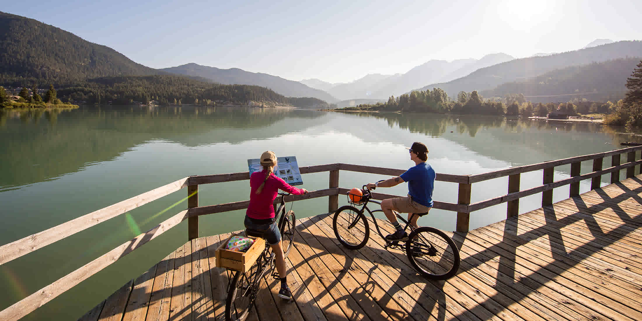 Biking on Whistler's Valley Trail in fall