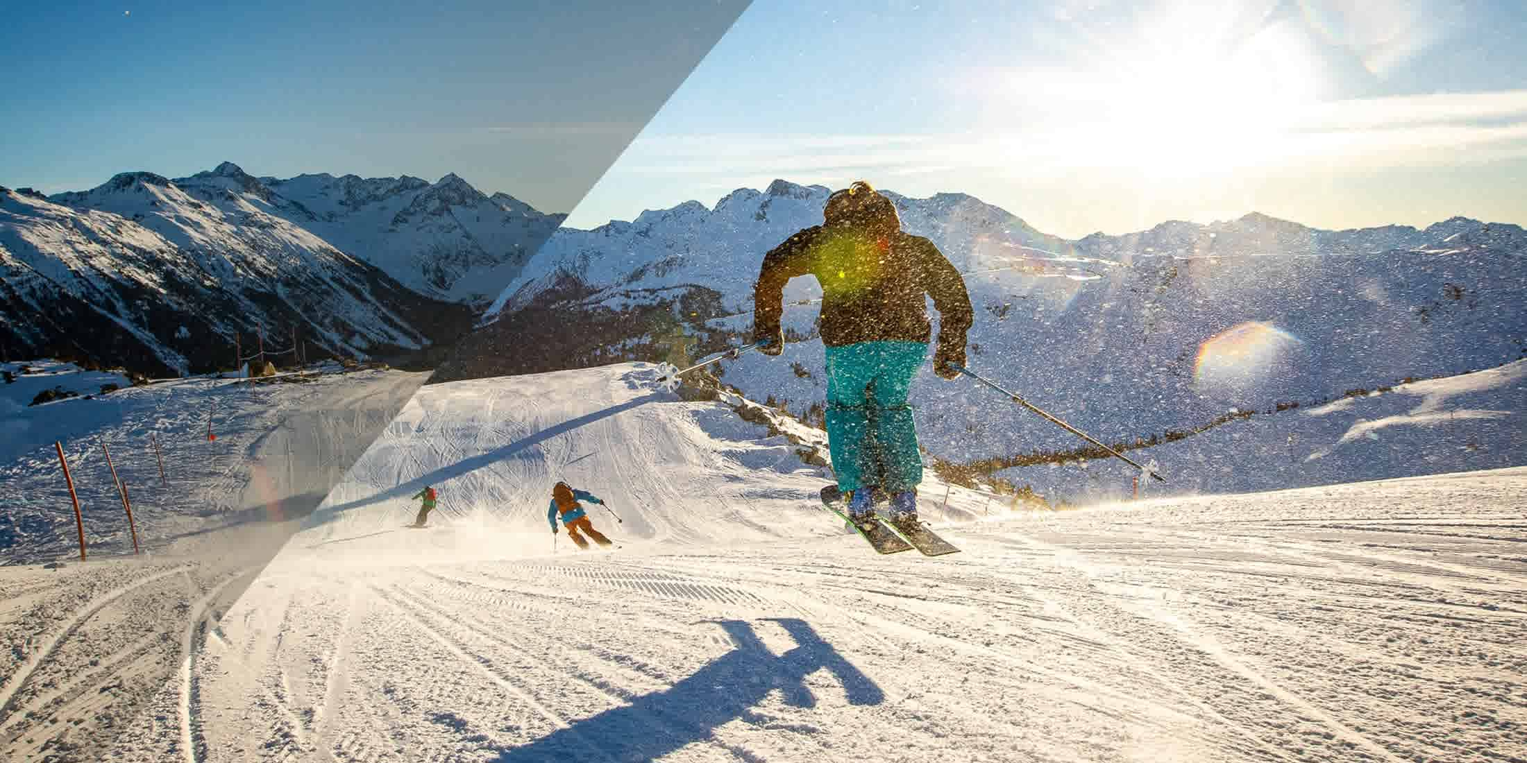 Skiing at Whistler Blackcomb in the winter