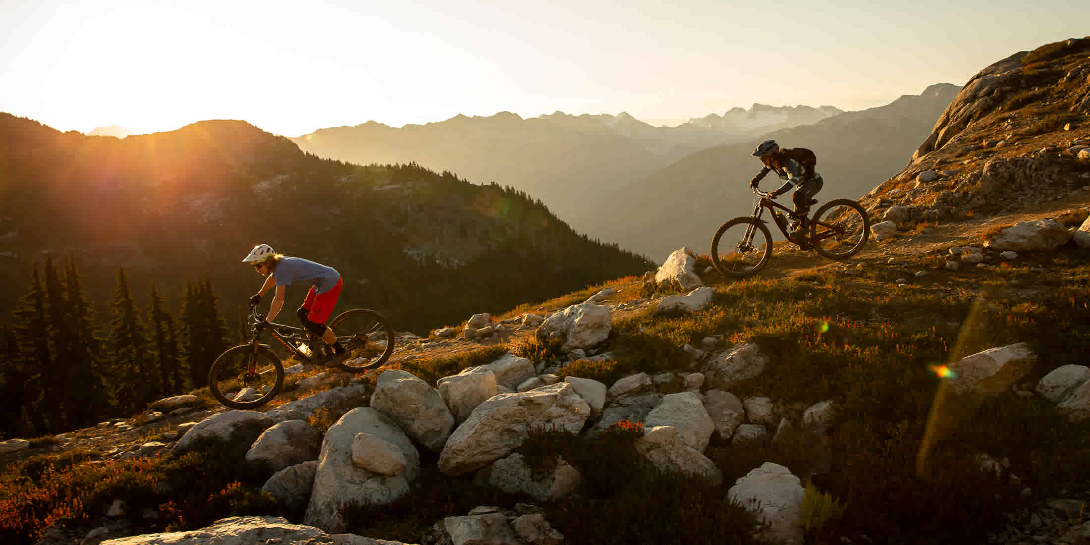 Mountain biking on Top of the World on Whistler Mountain