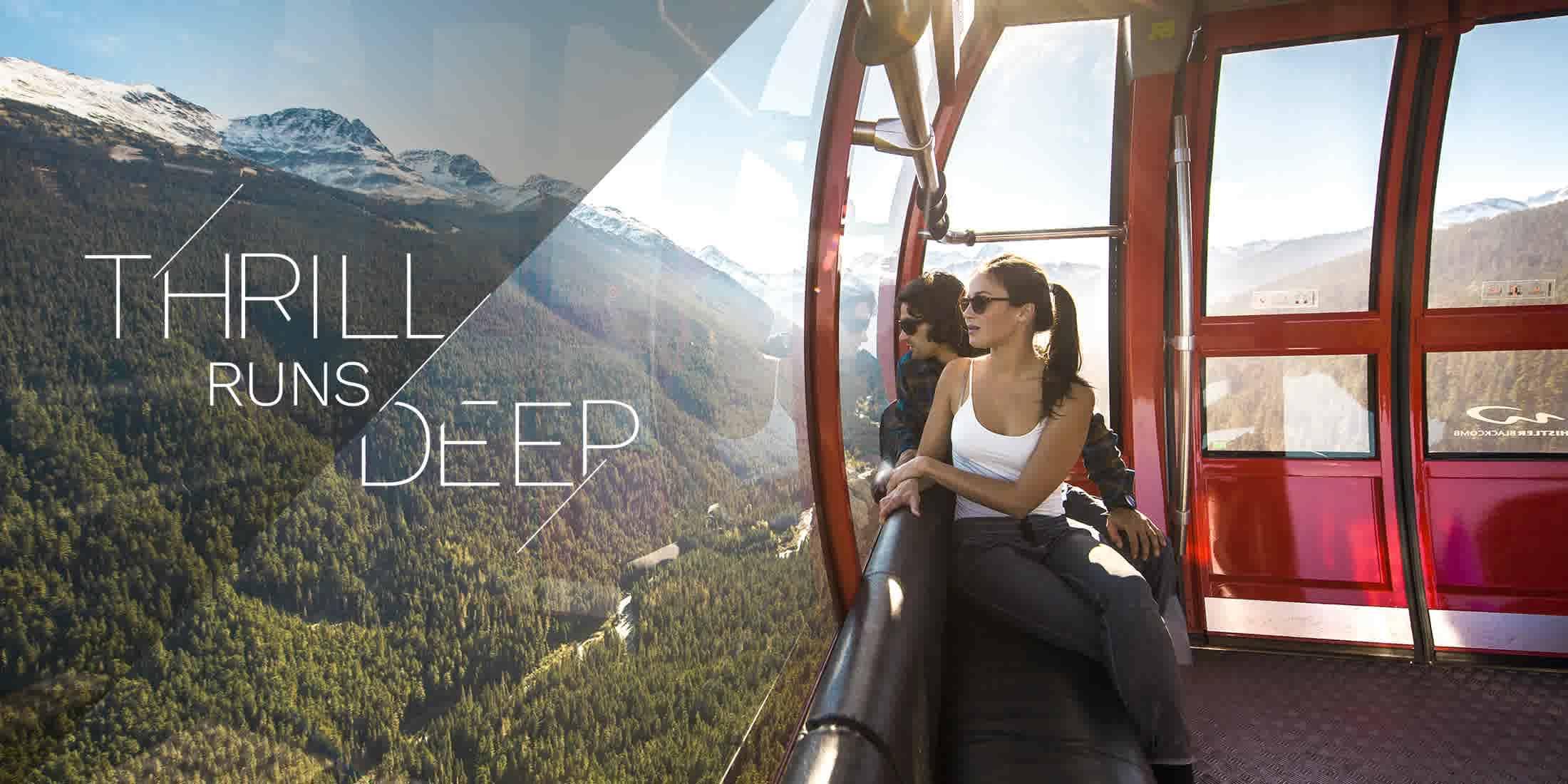 People sightseeing on the PEAK 2 PEAK Gondola in Whistler BC Canada