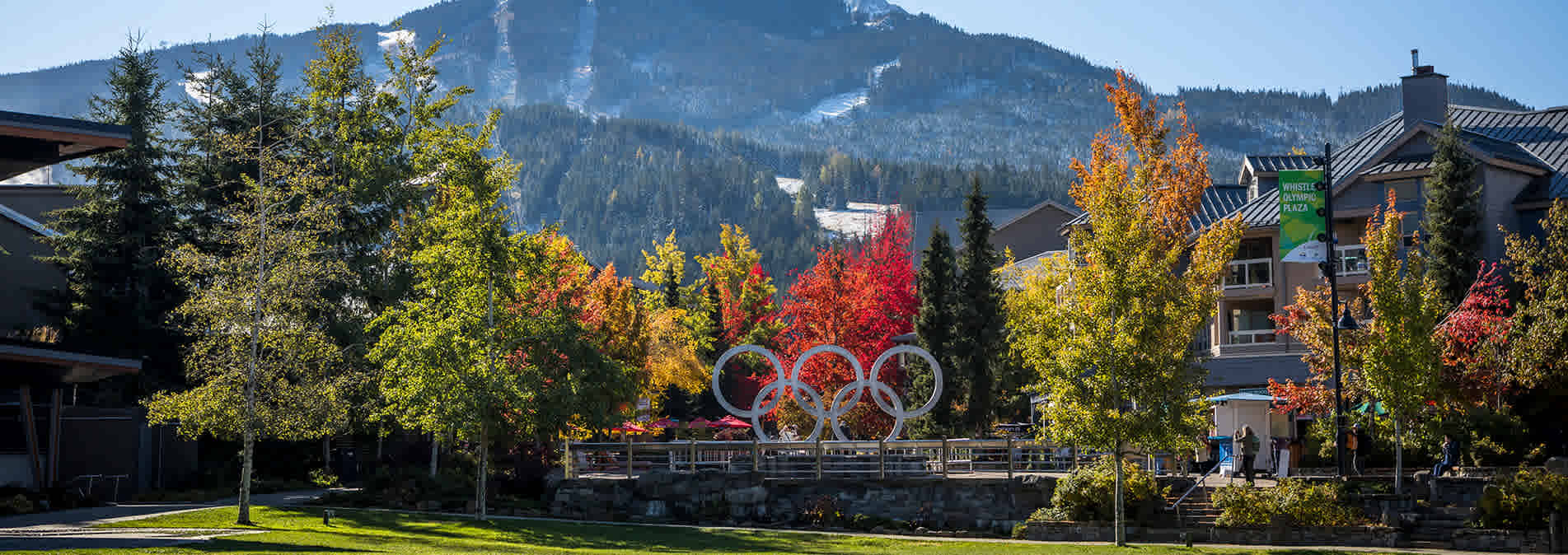 Whistler Olympic Plaza in Whistler Village in the fall, Whistler Canada