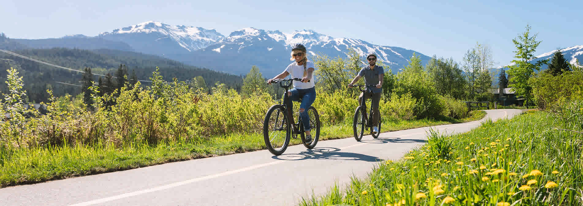Biking on the Valley Trail in Spring in Whistler BC