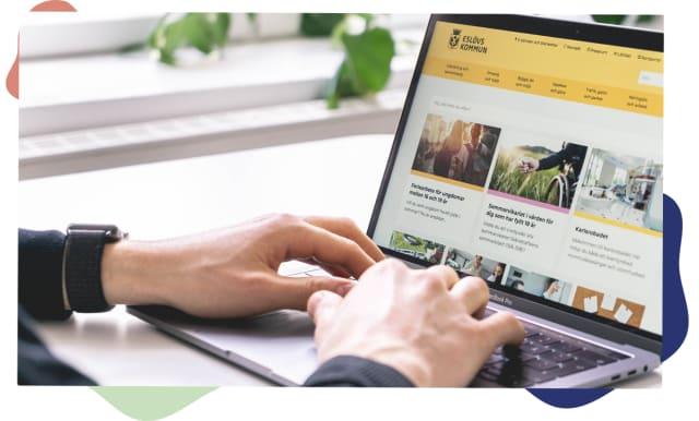 Laptop som visar Eslövs webbplats