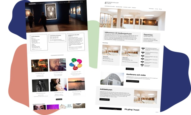 Collage med webbplatser