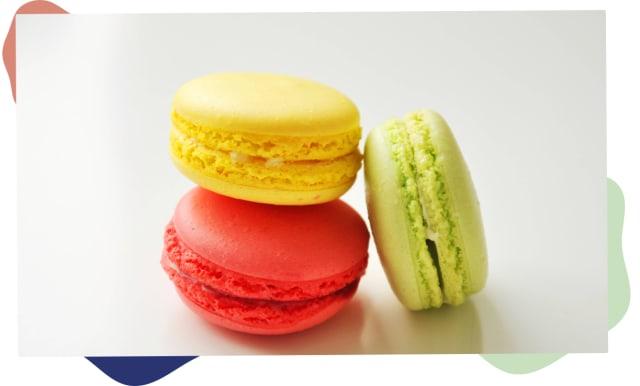 Färgglada macarons för att illustrera teman och plugin
