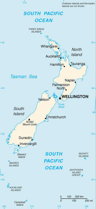 NZ country map