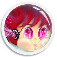A cute illustration with circling animation by Shillmynara aka We~Ivy, an OMC with red pink magenta messy hairstyle, pink shiny eyes, mouth holding breath and wearing his futuristic earphone, the art is framed in a round porthole