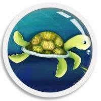 Onscroll triggered animated illustration thumb of green cute cartoon turtle, drawn by We~Ivy aka Shillmynara. The high speed swimming turtle lives in the FUN•tastic Ocean.