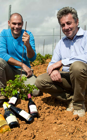 Zwei Winzer der Società Agricola Bollina zeigen ihre Weine