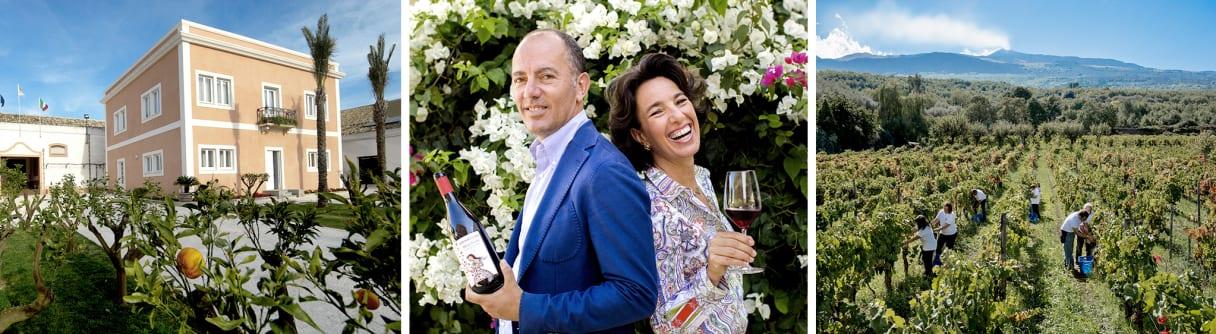 Collage: Weingut Donnafugata, die Geschwister Antonio und Josè, Arbeiter im Weinberg