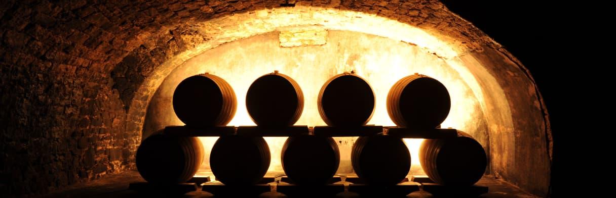 Reichsrat von Buhl - Weinkeller mit Weinfässern