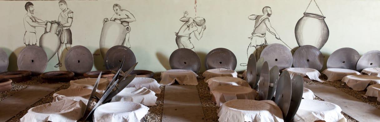 Azienda Agricola COS - Weinkeller mit im Boden eingelassenen Amphoren für die Weinreife