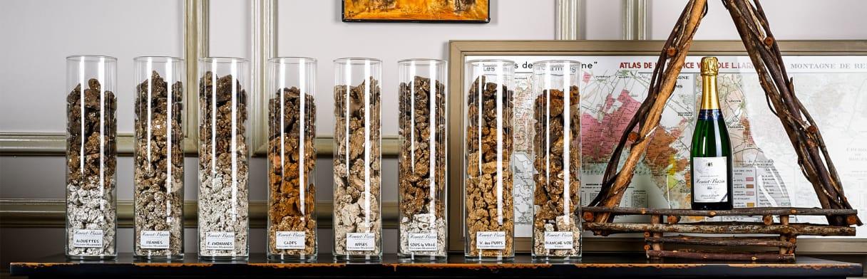 Beispiele der unterschiedlichen Champagne-Erden des Weinguts D. Henriet-Bazin