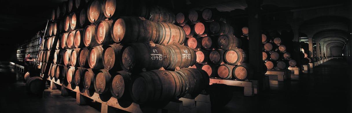 La Rioja Alta Weinkeller-Gewölbe mit Eichenfässern