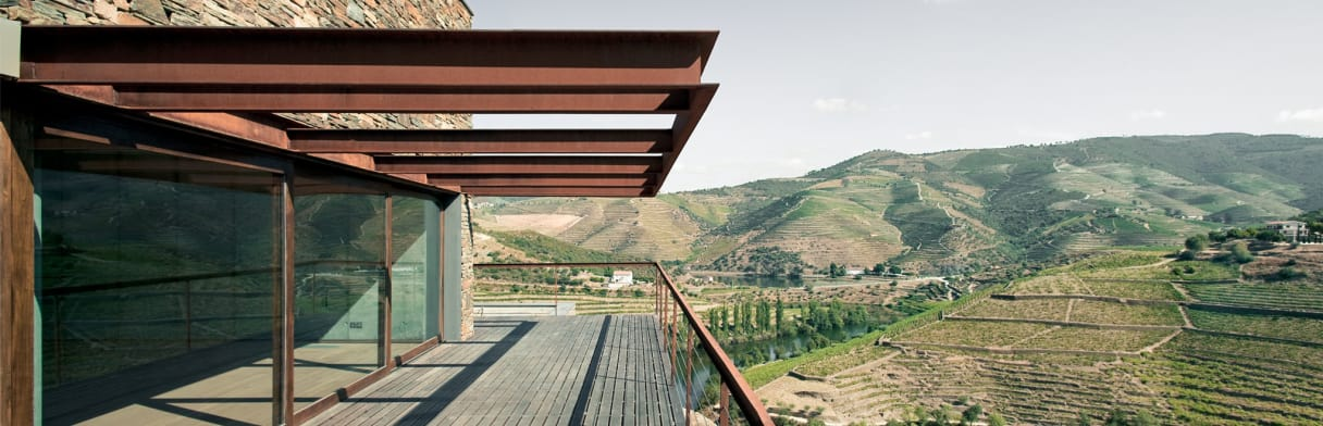 Niepoort Weingut - Terasse mit Aussicht auf Weinterassen