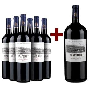 Kaapzicht Merlot 'Steenbok' Stellenbosch 2017  '6 flessen + magnum' pakket