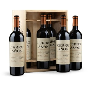 '6 flessen in houten wijnkistje' Cerro Añón Gran Reserva Rioja 2010