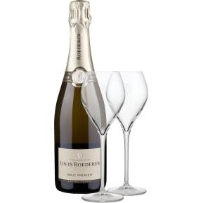 Champagne Louis Roederer 'Brut Premier' + twee champagneglazen