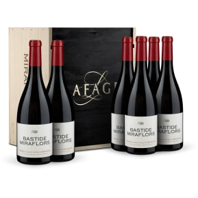 Caisse en bois 6 bouteilles Domaine Lafage Syrah-Grenache 'Bastide Miraflors' Cotes du Roussillon 2017