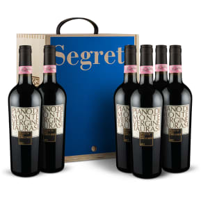 6 flessen Feudi di San Gregorio 'Piano di Montevergine' Taurasi Riserva 2013 in houten wijnkistje