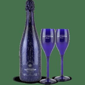 Champagne Taittinger 'Nocturne' Sec City Light Edition + 2 Gratis-Kunststoff-Gläser