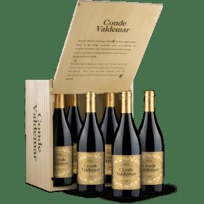 6 flessen 'Bodegas Valdemar Rioja Gran Reserva 'Conde Valdemar' 2008' in houten wijnkistje
