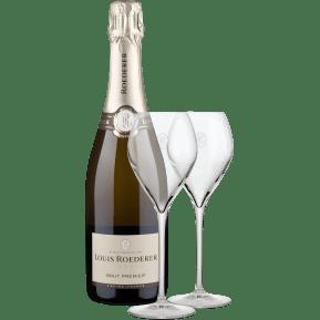 Champagne Louis Roederer 'Brut Premier' + twee Roederer glazen