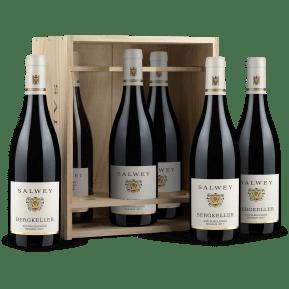 6 flessen Salwey Spätburgunder Réserve 'Bergkeller' 2017 in houten wijnkistje