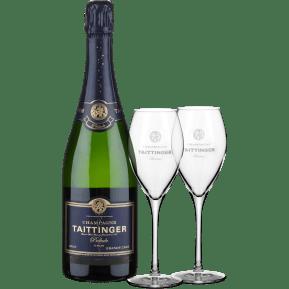 Champagne Taittinger 'Prélude' Grands Crus Brut NV + twee Taittinger glazen