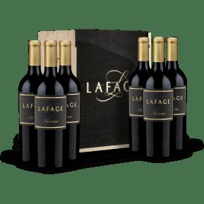 6 flessen Lafage 'Lieu Dit Narassa' Côtes Catalanes 2017 in houten wijnkistje